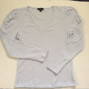J Crew Faded Blue Puff Sleeve Top Size MED